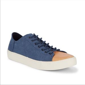 TOMS Blue Navy Wash Canvas Leather Lenox Sneakers